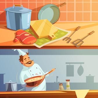 Banners horizontais de cozinhar dos desenhos animados conjunto com utensílios de cozinha e chef