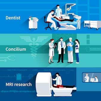 Banners horizontais de cuidados médicos concilium 3 profissional conjunto com dentista e ressonância magnética abstrata ilustração vetorial isolado