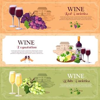 Banners horizontais de degustação de vinhos