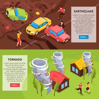 Banners horizontais de desastre natural com composições isométricas de terremoto e tornado