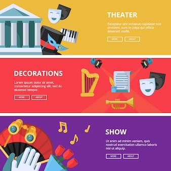 Banners horizontais de desempenho ou teatro