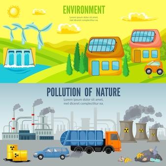 Banners horizontais de desenho animado sobre poluição ambiental