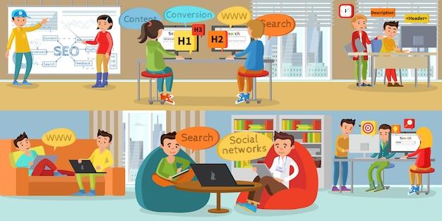 Banners horizontais de desenvolvimento da web para empresas