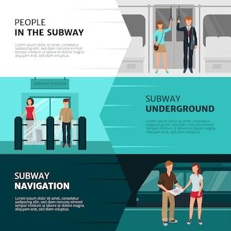 Banners horizontais de design plano com pessoas dentro do metrô