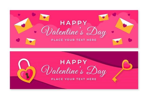 Banners horizontais de design plano do dia dos namorados