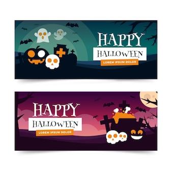 Banners horizontais de design plano halloween