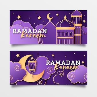 Banners horizontais de design plano ramadan com lua crescente