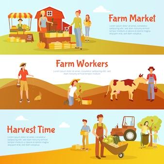 Banners horizontais de design plano tempo de colheita