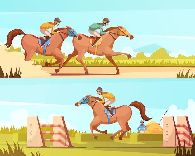 Banners horizontais de desporto equestre com passeios a cavalo e corridas cartoon composições ilustração em vetor plana