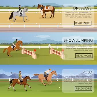 Banners horizontais de desporto equestre