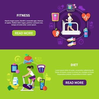 Banners horizontais de dieta fitness