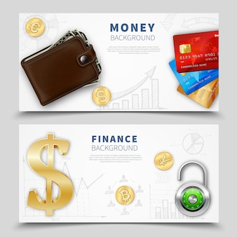 Banners horizontais de dinheiro realista