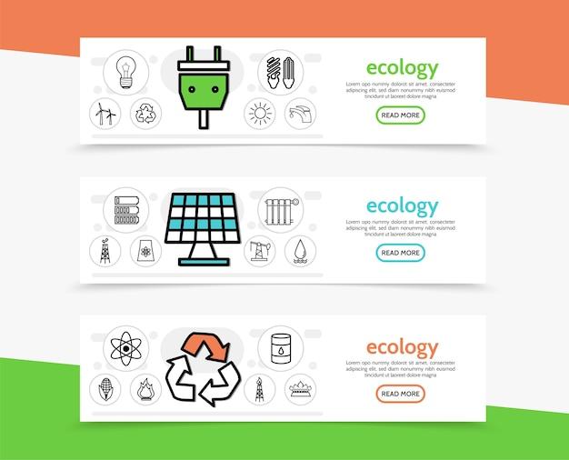 Banners horizontais de ecologia