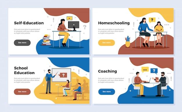 Banners horizontais de educação conjunto com educação escolar e coaching símbolos ilustração isolada plana