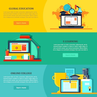 Banners horizontais de educação online