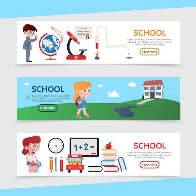 Banners horizontais de educação plana