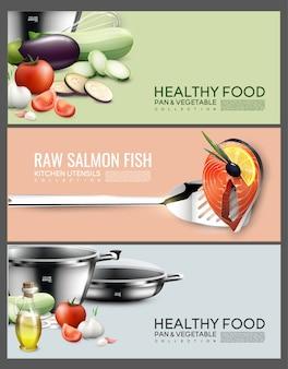 Banners horizontais de elementos de cozinha realistas