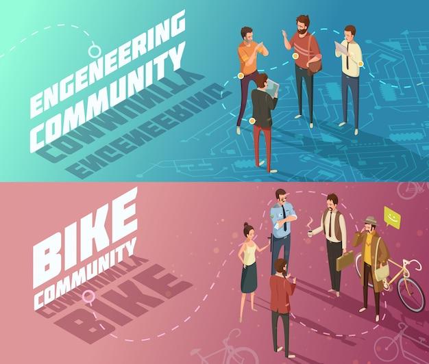Banners horizontais de engenharia isométrica e comunidades de bicicletas