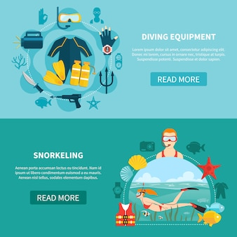 Banners horizontais de equipamento de mergulho