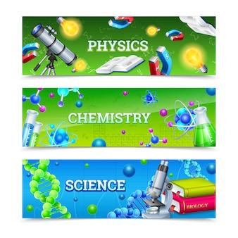 Banners horizontais de equipamentos de laboratório de ciência