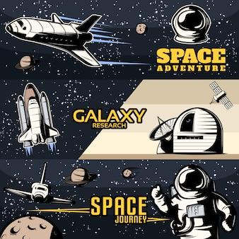 Banners horizontais de espaço definido com equipamento científico para ônibus cósmicos de pesquisa galáxia para viagens isoladas