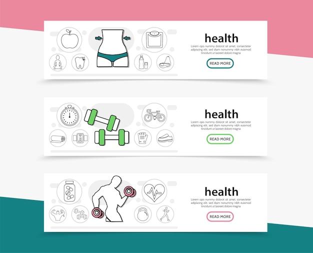 Banners horizontais de estilo de vida saudável
