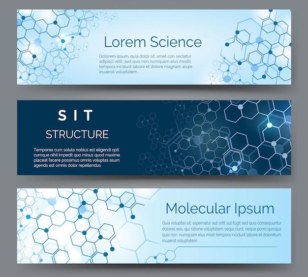 Banners horizontais de estrutura molecular