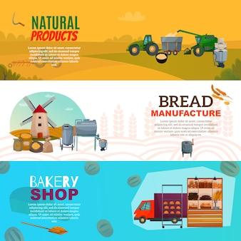 Banners horizontais de fabricação de pão