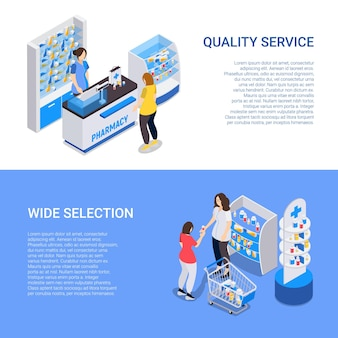 Banners horizontais de farmácias com ampla seleção e ilustração isométrica de serviço de qualidade