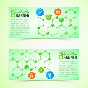 Banners horizontais de farmácias e farmacêuticas com ilustração isolada realista