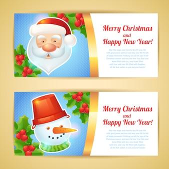 Banners horizontais de feliz natal com papai noel e boneco de neve isolado ilustração vetorial