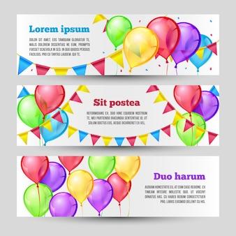 Banners horizontais de férias com balões coloridos