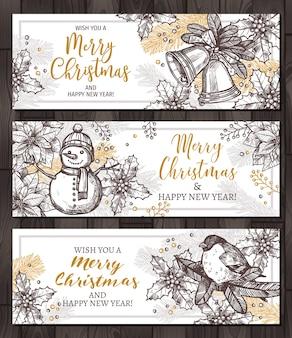 Banners horizontais de férias felizes de natal para web. design para cartões com ilustração de esboço desenhado à mão