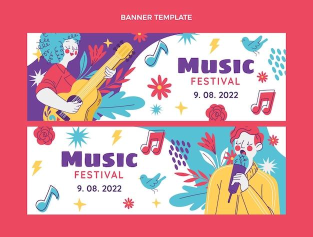 Banners horizontais de festival de música desenhados à mão