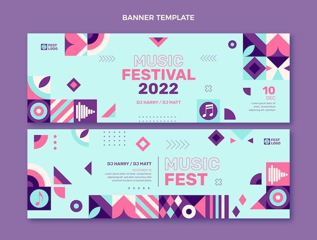 Banners horizontais de festival de música em mosaico de design plano