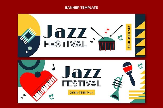 Banners horizontais de festival de música mínima em estilo simples