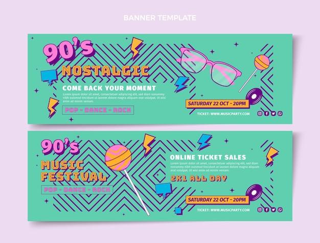 Banners horizontais de festival de música nostálgica de design plano