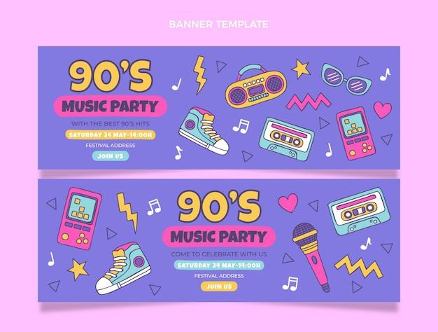 Banners horizontais de festival de música nostálgica dos anos 90 desenhados à mão