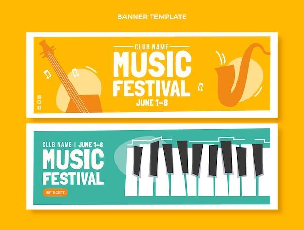 Banners horizontais de festival de música plana minimalista