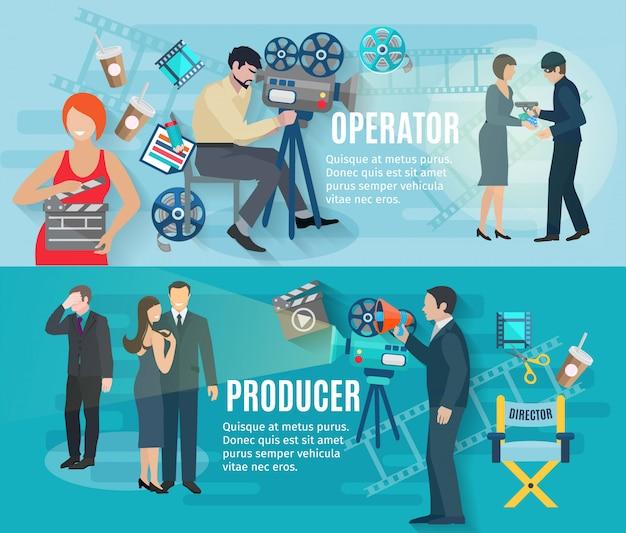 Banners horizontais de filmagem com produtor de operadora e atores