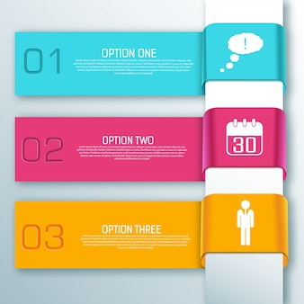 Banners horizontais de fita da web infográfico colorido