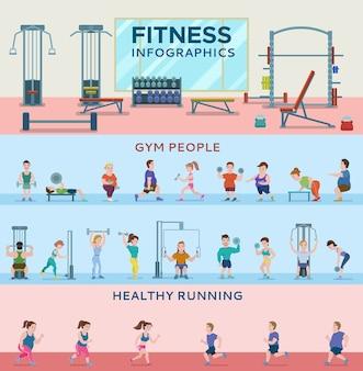 Banners horizontais de fitness esportivo