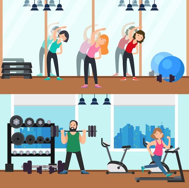 Banners horizontais de fitness