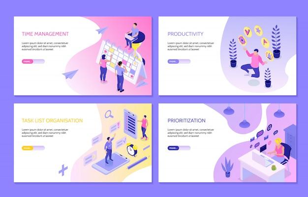 Banners horizontais de gerenciamento de tempo com composições isométricas de produtividade da priorização da organização da lista de tarefas