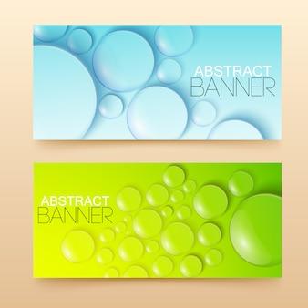 Banners horizontais de gotas e bolhas de água configuram ilustração isolada realista