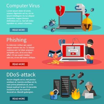 Banners horizontais de hackers com ícones de ataques ddos