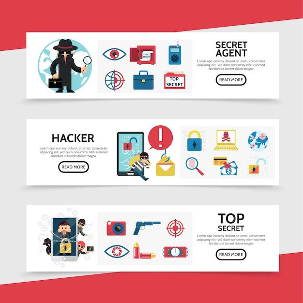 Banners horizontais de hacking plano