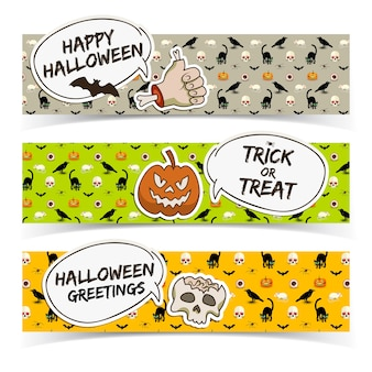 Banners horizontais de halloween com nuvens de discurso, papel, braço de zumbi, caveira