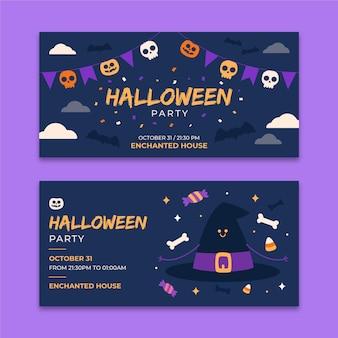Banners horizontais de halloween de design plano