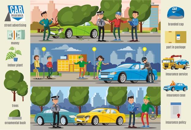Banners horizontais de infográfico de casos de seguros de automóveis